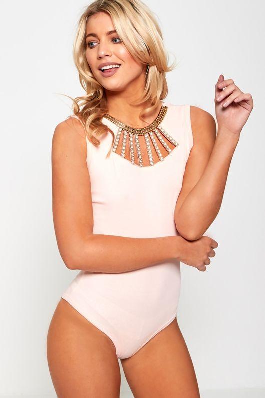 Pink Diamante Neck Detail Bodysuit