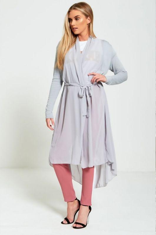 Grey Chiffon Belted Longline Cardigan