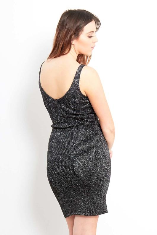 Black Sparkle Detail Bodycon Dress