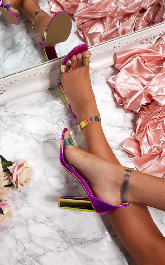 Fuchsia Iridescent Freja Barely There Block Heels