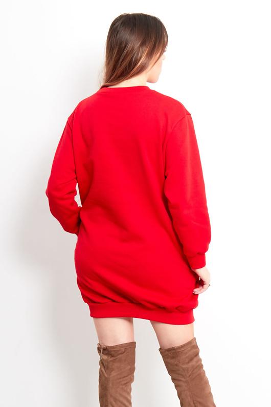 Red Prosecco Christmas Sweatshirt Dress