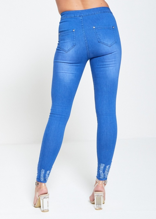 Light Denim High Waist Frayed Hem Jeans
