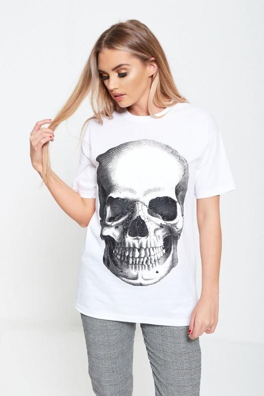 White Glitter Skull Print Top