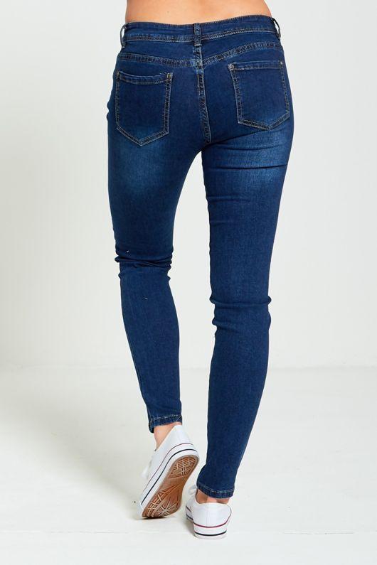 Dark Denim Floral Embroidery Skinny Jeans