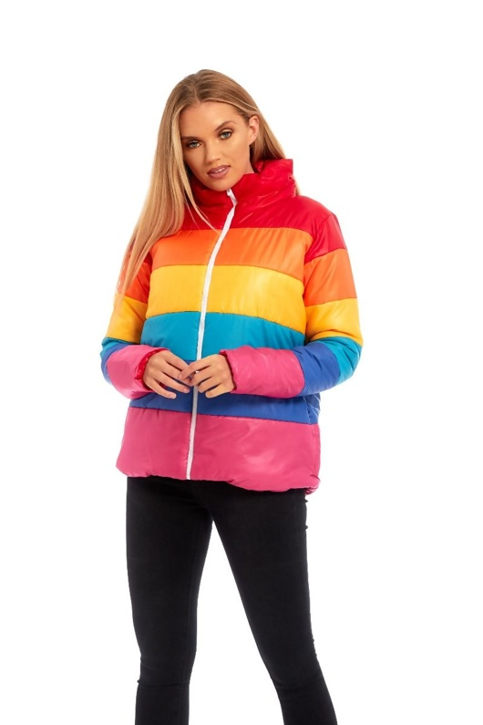 Multi Rainbow Puffer Bomber Jacket