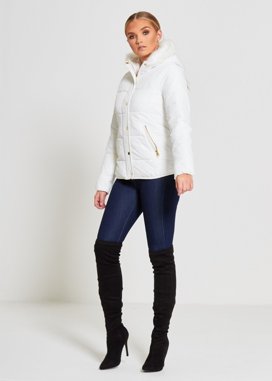White Fur Lined Hood Puffer Jacket