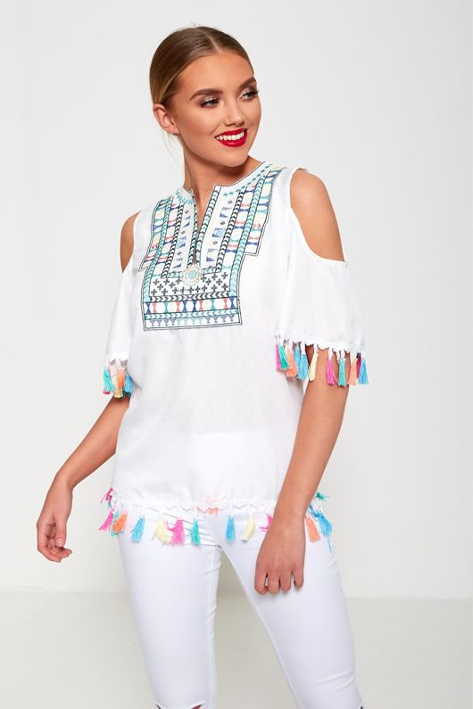 White Cold Shoulder Boho Style Top