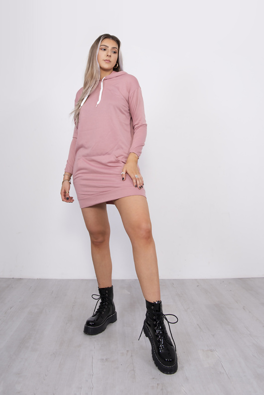 Pink Hooded Jumper Dress
