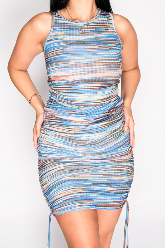 Blue Multi Ribbed Ruched Bodycon Dress
