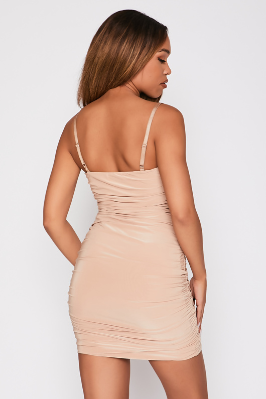 Beige Ruched Knot Front Bodycon Dress