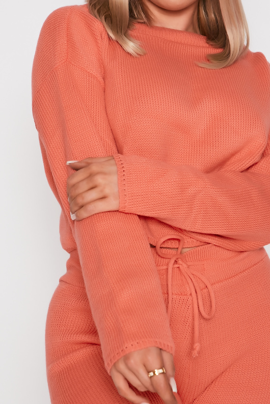 Coral Knitted Shorts Lounge Set