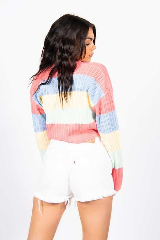 Coral Rainbow Pointelle Button Cardigan-Copy
