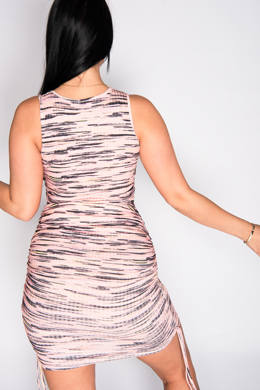 Pink Multi Ribbed Ruched Bodycon Dress