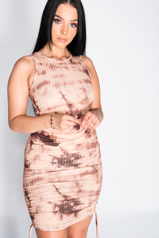 Stone Marble Print Ruched Bodycon Dress