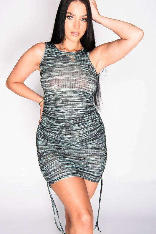 Green Multi Ribbed Ruched Bodycon Dress