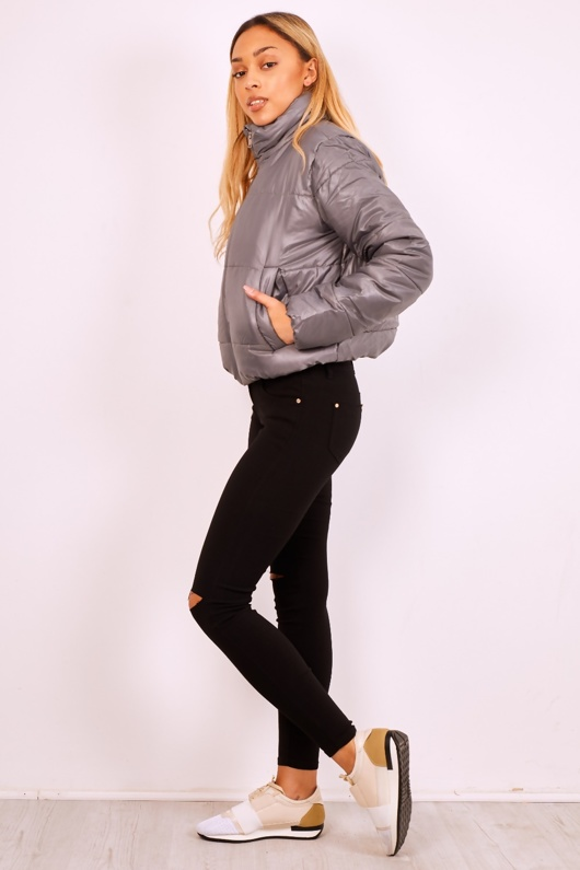 Charcoal Cropped High Neck Puffer Jacket