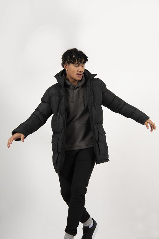 Mens Black Hooded Longline Puffer Coat