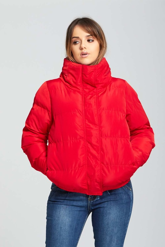 Womens Red High Neck Quilted Puffer Jacket