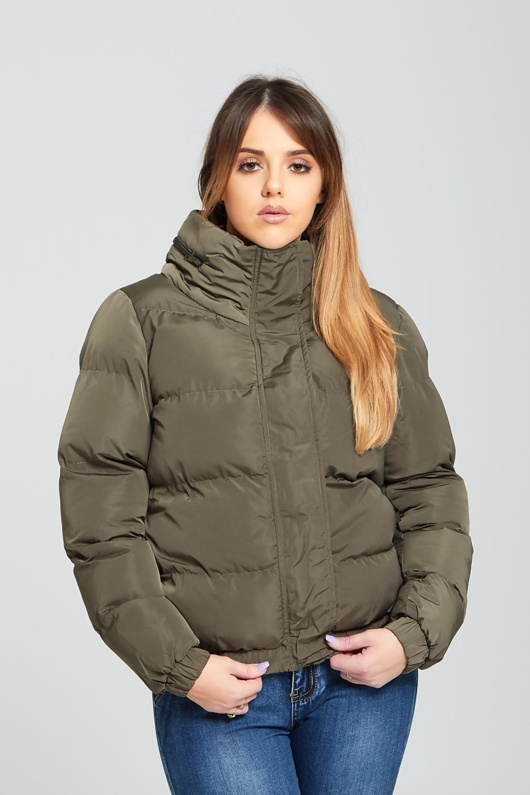 Womens Khaki High Neck Quilted Puffer Jacket