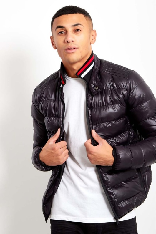 Black Mens Trio Stripe Bubble Jacket