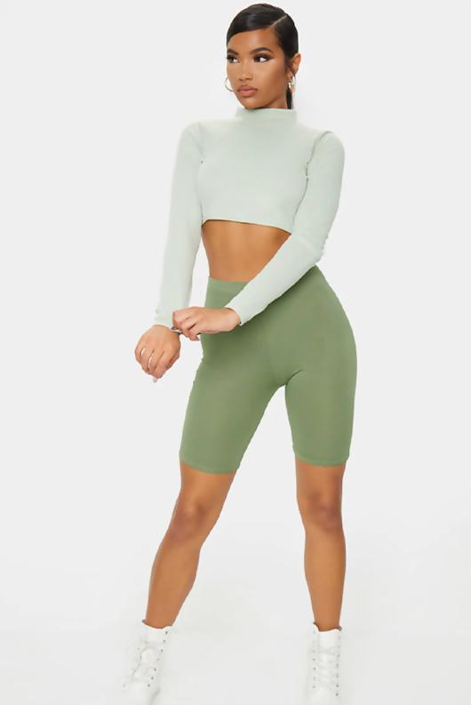 Khaki Basic High Waisted Cycle Shorts