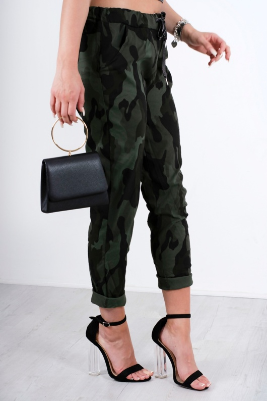 Khaki Camo High Waisted Trousers With Turn Up Detail