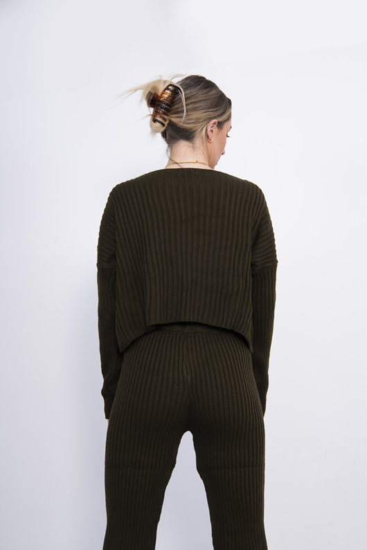 Khaki Rib Knit Lounge Set