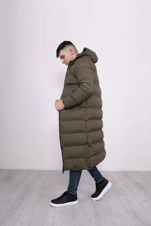 Mens Khaki Longline Hooded Puffer Coat