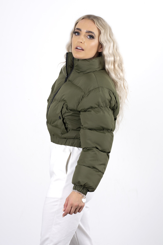 Khaki cropped pocket puffer coat