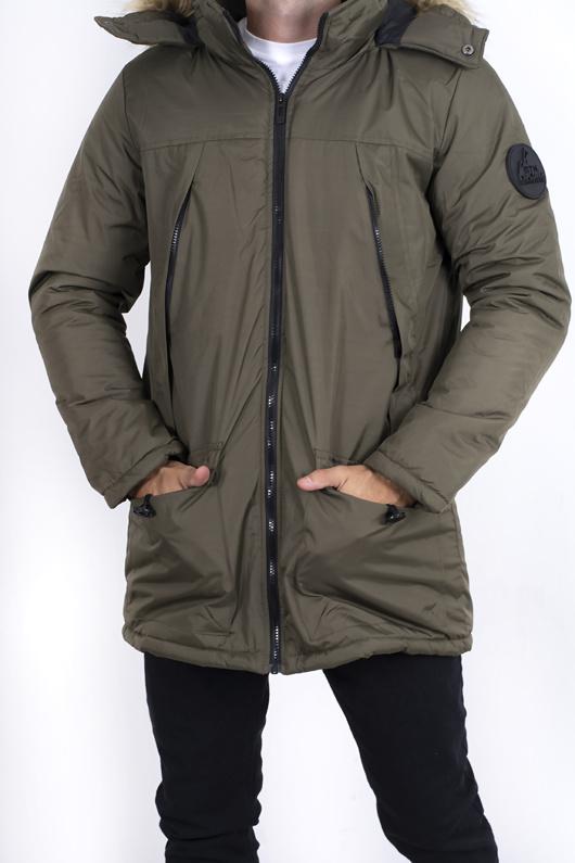 Mens Khaki Faux Fur Hooded Parka coat