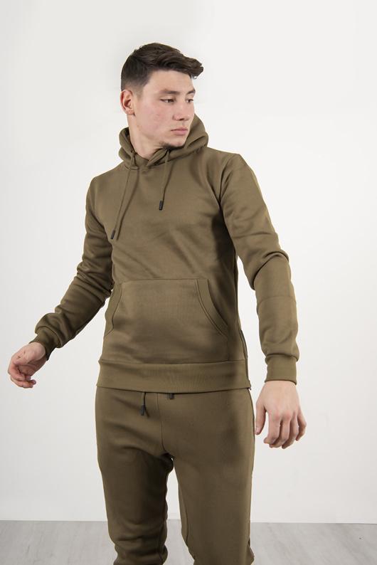 Mens Khaki Side Zip Detail Hooded Tracksuit