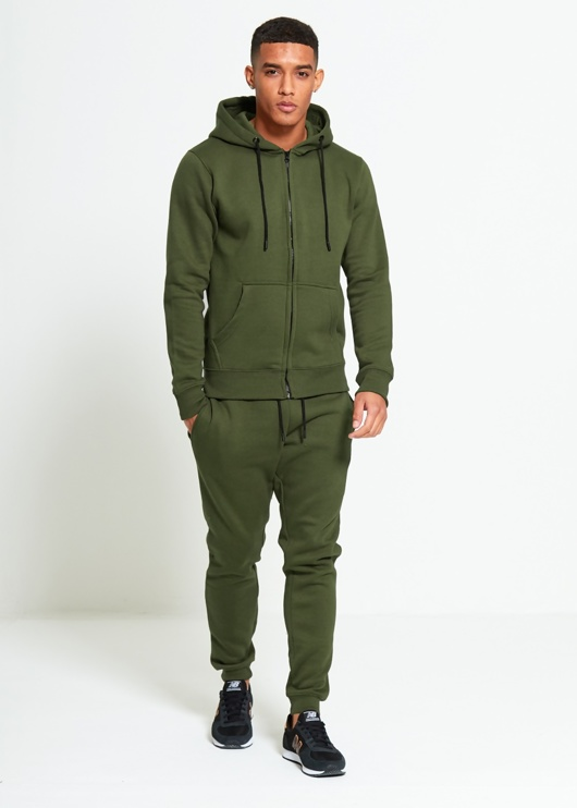 Mens Khaki Block Hooded Tracksuit