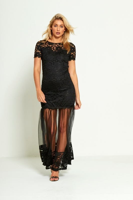 Black Floral Lace Sheer Panel Maxi Dress