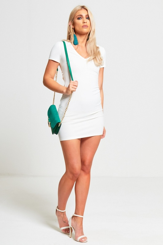 Cream Cut Out Lace Up Back Bodycon Mini Dress