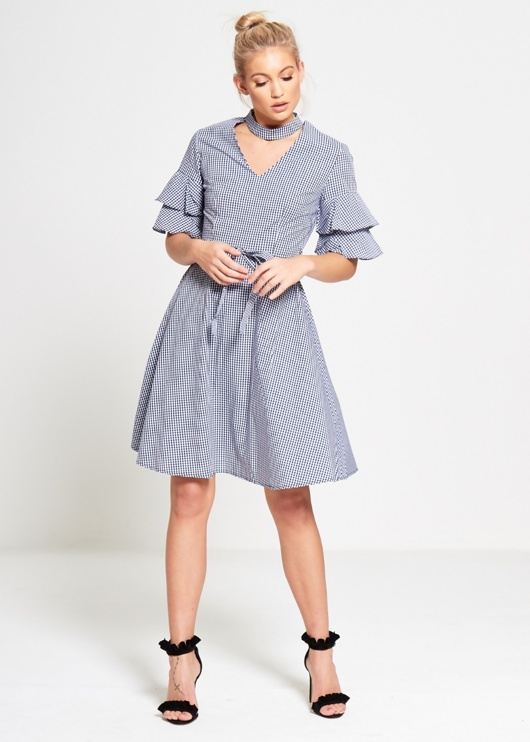 Navy Monochrome Gingham Check Dress