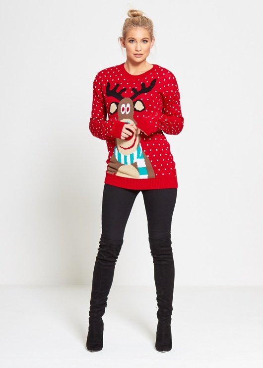 Red Rudolf Christmas Jumper with Pom Pom Detail