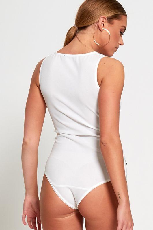 White Bandage Studded Bodysuit