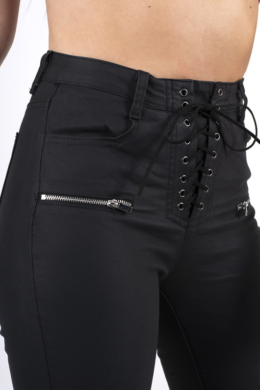 black leather coated lace up zip pants