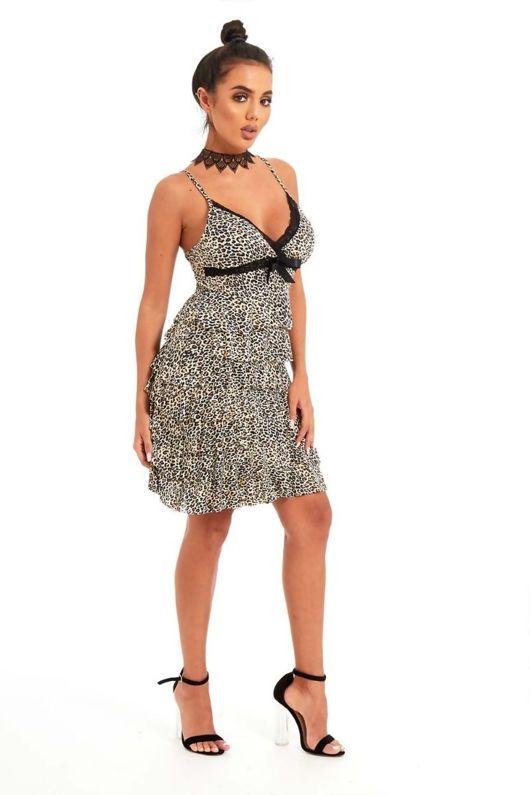 Beige Tiger Print Ruffle Bow Cami Dress