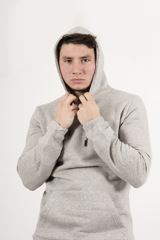 Mens Grey Pullover Hooded Tracksuit