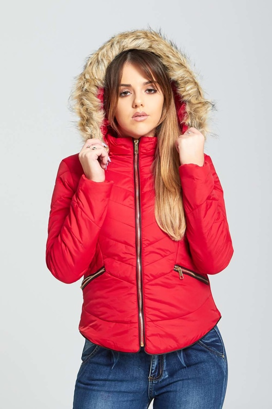 Red Fur Trimmed Hooded Puffer Jacket