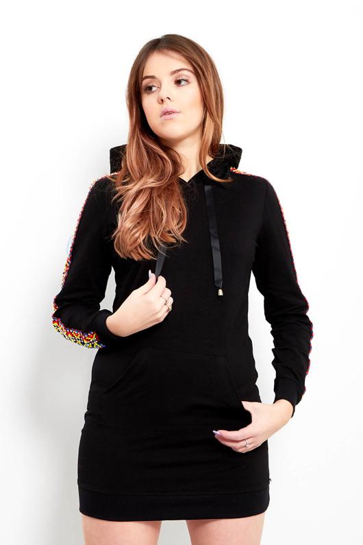 Black Embellished Pull over Sweatshirt Dress