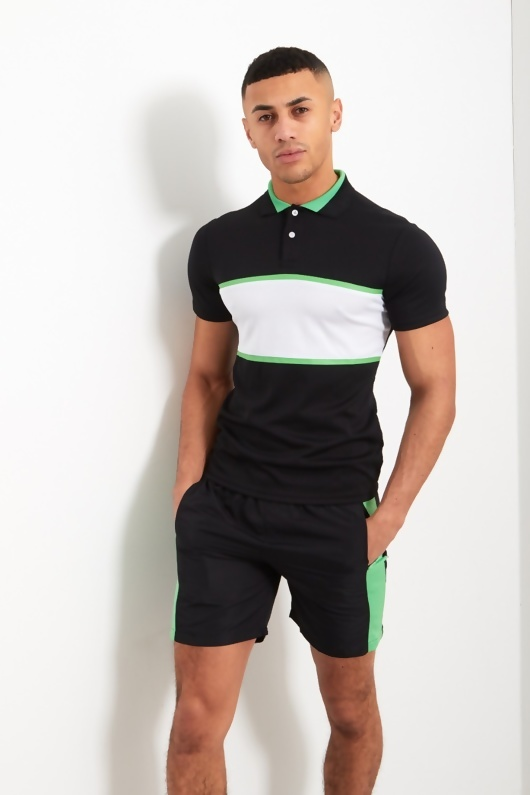 Mens Black And Green Panel Polo Shorts Set