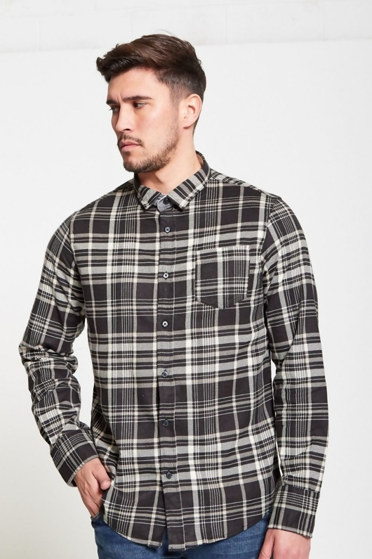 Mens Black Brushed Check Button Up Shirt