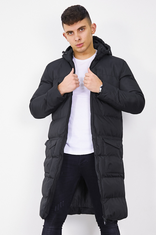 Mens Black Longline Hooded Puffer Coat