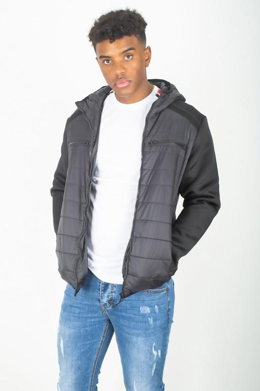 Mens Black Mesh Trim Contrast Sleeve Hooded Jacket