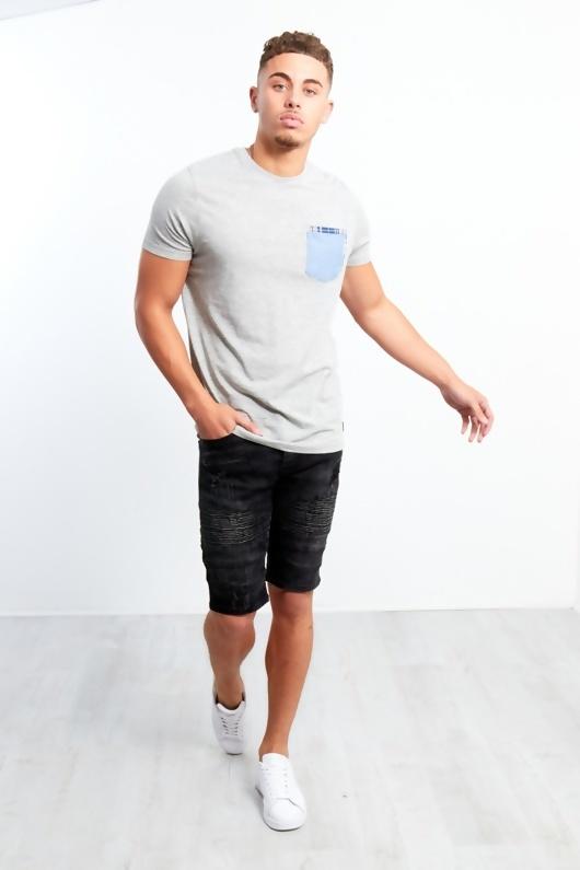 Mens Black Ribbed Distressed Denim Shorts