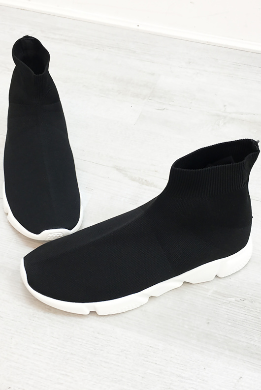 Mens Black Runner Sock Trainers