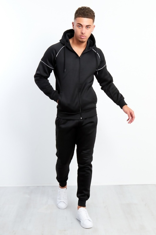 Mens Black Zip Through Piping Hooded Tracksuit