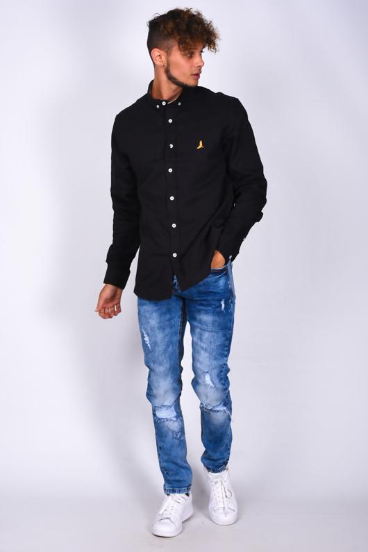 Mens Blue Denim Distressed Detail Skinny Jeans